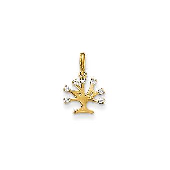 14k Yellow Gold CZ Cubic Zirconia Simulated Diamond for boys or girls Tree Pendant Necklace