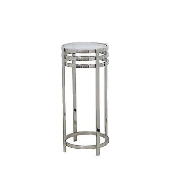 Light & Living Side Table Pillar 35x80cm Rings Nickel And Glass