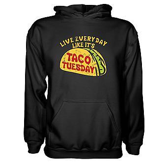 Herre Sweatshirts Hættetrøje- Live Everyday Like It's Taco tirsdag