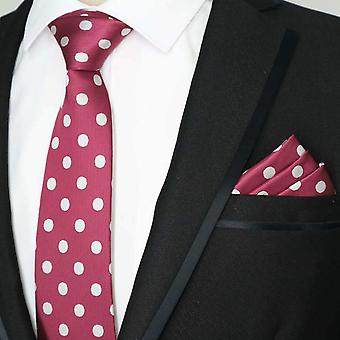 Dark red large white polka dot tie & pocket square set