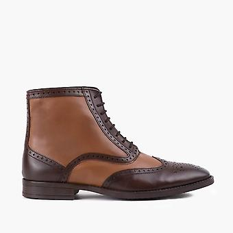 Bugsy tan leather oxford brogue boot