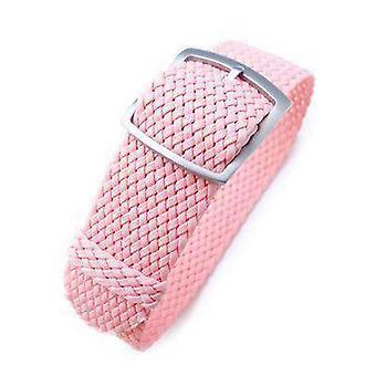 Strapcode fabric watch strap 20mm miltat perlon watch strap, rosa pink, sandblasted ladder lock slider buckle