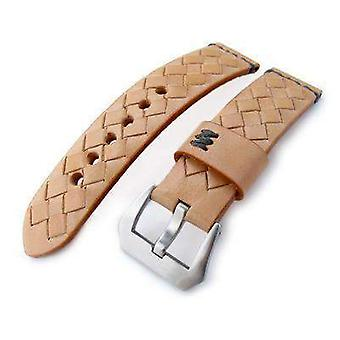 Strapcode الجلود ووتش حزام miltat zizz جمع 22mm مضفر ربلة الساق حزام ساعة جلدية، lv البيج، غرز رمادية داكنة