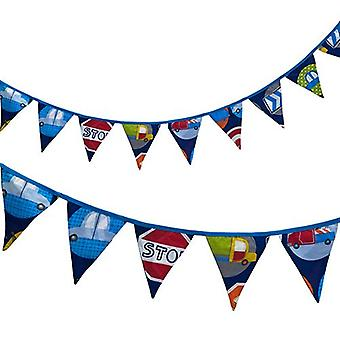 Ready Steady Bed� Fabric Bunting Flags Banner | Printed Polycotton Party and Bedroom Decoration for Kids | Birthday Bunting for Girls or Boys | 3 Metres (Road Signs)