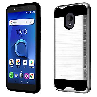 ASMYNA Brushed Hybrid Case for Alcatel 5059R/1X Evolve/Avalon V - Silver/Black