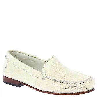 Leonardo Shoes Women's handmade slip on loafers shoes in gold calf leather