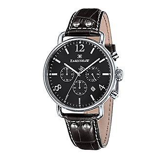 Thomas Earnshaw ES-8001-08 wrist watch men's chronograph black leather strap