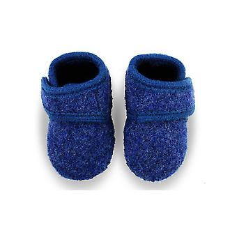 Melton blue wool velcro slipper