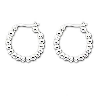 The Olivia Collection Sterling Silver 2cm Beaded Creole Earrings