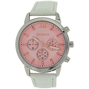Henley Glamour Ladies Chrono Effect Pink Dial White PU Strap Watch H06097.5
