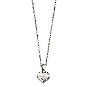 Little Star Bella Silver & Diamond Heart Children's Ketting
