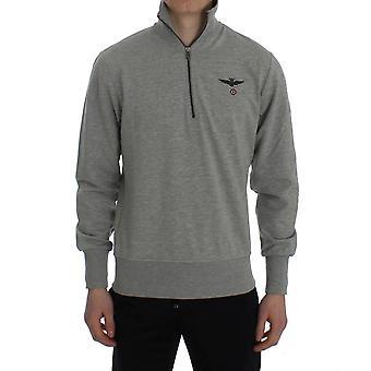 Grå bomuld stretch halv lynlås-sweater