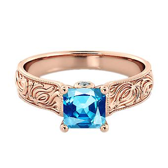 Aquamarin 1,06 Ctw Ring mit Diamanten 14K Rose Gold filigrane Kathedrale Prinzessin
