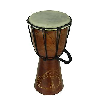 12 Inch Tall Carved Giraffe Djembe Drum 6.5 Inch Diameter