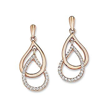 Amor - earrings for women - drop - silver 925 gold-plated with white zircons - 510189