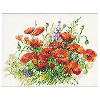 Alisa Cross Stitch Kit - Poppies