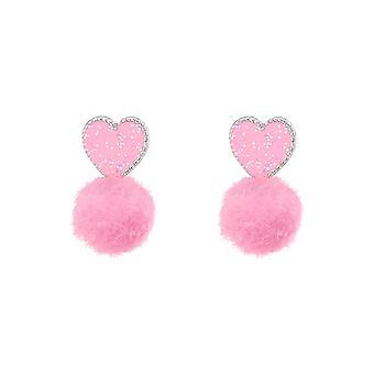 Καρδιά - 925 Ασημένια Πολύχρωμα Στηρίγματα Αυτιών - W37153x