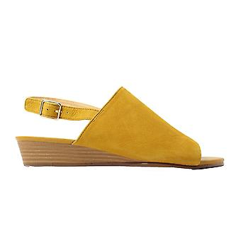 Clarks Mena Lily Ochre Yellow Nubuck Leather Womens Slingback Sandals