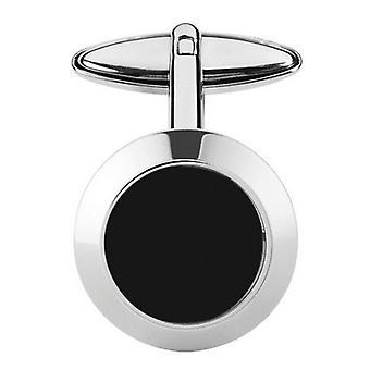 Orton West Onyx Round Cufflinks - Silver/Black