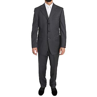 Z ZEGNA Gray Solid Two Piece 3 Button Wool Suit -- KOS1040432