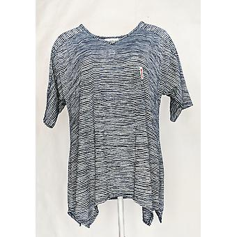 North Style Women's Top Short Sleeve Striped Tee Blue