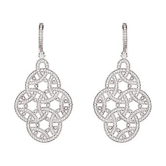 Large Statement Wedding Bridal 925 Sterling Silver Earrings CZ Big Drop Dangle