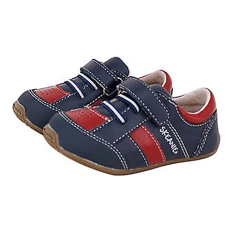 SKEANIE Toddlers and Kids Leather Trainers in Navy Blue