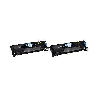 RudyTwos 2x Replacement for HP 122A Toner Unit Cyan Compatible with Colour Laserjet 2550, 2550n, 2550l, 2550ln, 2800, 2820, 2820aio, 2840, 2840aio, 2850, 2500, 2500l, 2500lse, 2500n, 1500, 1500L, 1500