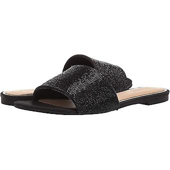 Jewel Badgley Mischka Women's KHALEESI Sandal, black satin, 8 M US