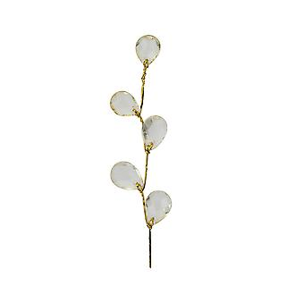 LAST FEW - 6 Pack Crystal Drops with Gold Stem for Floristry Crafts - Gold