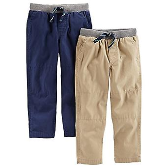 Simple Joys by Carter's Baby Boys' Toddler 2-Pack Pull on Pant, Khaki, Navy, 2T