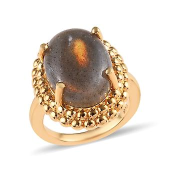Solitaire Fire Labradorite Ring Sterling Silver 14ct Gold Plated, 10 Ct TJC