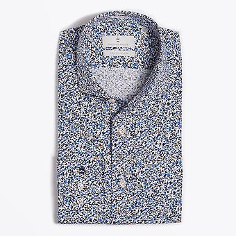 Thomas Maine  - Abstract Speckled Print Shirt - Blue