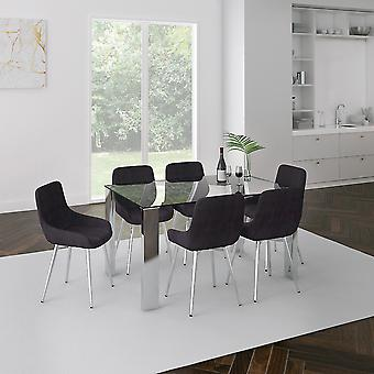 Daisy/Astrid 7Pc Dining Set - Table Chrome/Chaise grise
