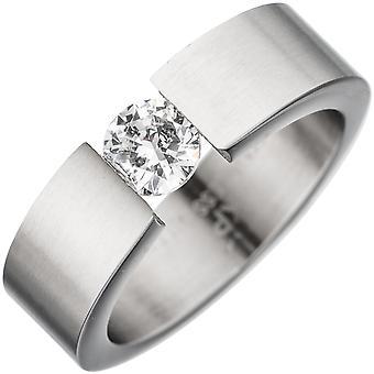 Damen Ring Edelstahl mattiert 1 Kristall Edelstahlring Größe:62