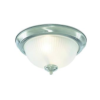 Badezimmer Flush 2 Licht Decke Satin Silber IP44, E14