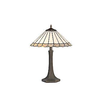 2 Lampada da tavolo ottagonale leggera E27 con 40cm Tiffany Shade, Grigio, Cristallo, Ottone Antico Invecchiato