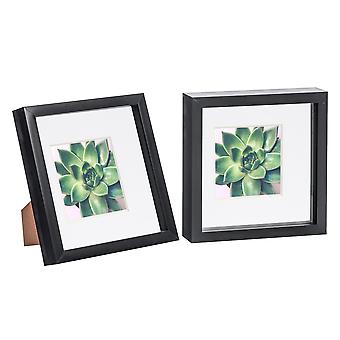Nicola Spring 2 Piece 8 x 8 3D Shadow Box Photo Frame Set - Craft Display Picture Frame - Glass Aperture - Black