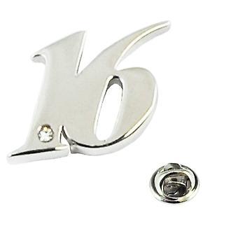 Ties Planeta Número 16, 16 cumpleaños Lapel Pin Insignia con cristal - Rodio plateado
