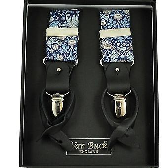 Krawaty Planet Van Buck Navy Blue, Jasnoniebieski, Biały, Liliowy i Brązowy Kwiat & Birds Wzorzyste Męskie&S Spodnie Szelki wykonane z liberty fabric