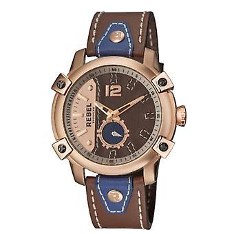 Rebel Men-apos;s RB121-8151 Weeksville Rose-Gold IP Steel Kaki Leather Montre-bracelet
