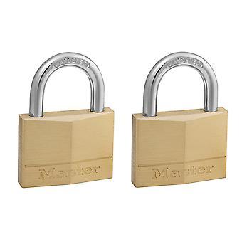 Master Lock Solid Brass 50mm Padlock 5-Pin - Keyed Alike x 2 MLK150T