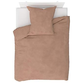 2-tlg. Bettwäsche-Set Fleece Beige 135 x 200 / 80 x 80 cm