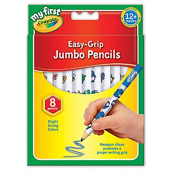 Crayola my first jumbo easy grip colouring pencils, pack of 8 jumbo decoratod pencils