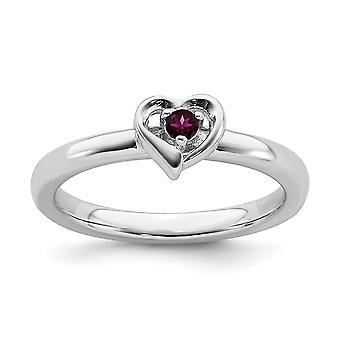 2,25 mm 925 Sterling Silber poliert Prong Set stapelbare Ausdrücke Rhodolit Granat Liebe Herz Ring Schmuck Geschenke für W