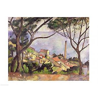 Havet vid lEstaque 1878 affisch skriva ut av Paul Cezanne