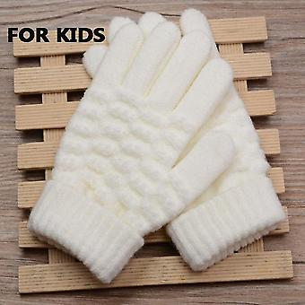 Kids Thick Knitted Warm Winter Gloves, Stretch Mittens, Hand Accessories