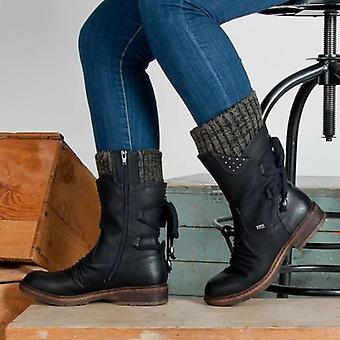 Invierno Mid-panf Flock zapatos, señoras de moda muslo de ante alta caliente bota de nieve