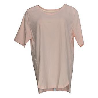 Isaac Mizrahi Live! Women's Top Pima Cotton V-Neck Elbow Slv Pink A379612
