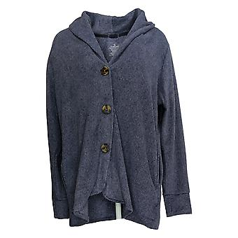 Cuddl Duds Women's Sweater Fleece Stretch Button Cardigan Purple A369667